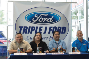 (From left) Frederick Tupaz, media specialist; Ave Garcia, vice president; Ivan Shiroma, president, all with the Guam National Youth Football Federation; and Jay B. Jones, senior vice president, Triple J Enterprises Inc.