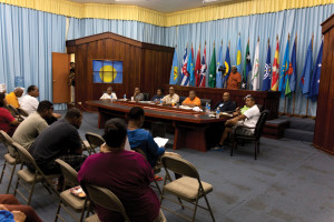 Members of Palau's House of Delegates conduct a public hearing on Sept. 26 for Sonsorol and Hatohobei state residents and members of the legislature on the proposed bill to establish casino gaming framework in Palau. (From left) Delegates MarhenceMadrangachar, LucioNgiraiwet, Sweeny Ongidobel, Jonathan Isechal and Lee Otobed, House Speaker SabinoAnastacio, Delegate Sebastian Marino and Delegate Yutaka Gibbons Jr.